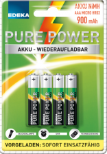 Test Aufladbare Batterien - Edeka Pure Power Akku 900 mAh